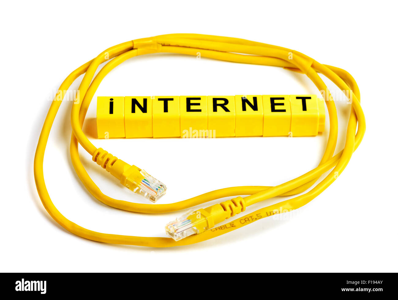Internet cable cat.5 UPD with RJ45 plug connection - Stock Image