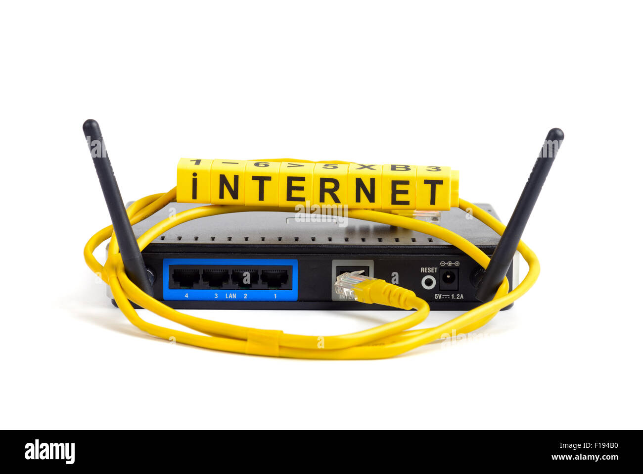 wireless wi-fi router with two antennas cable and sign isolated - Stock Image