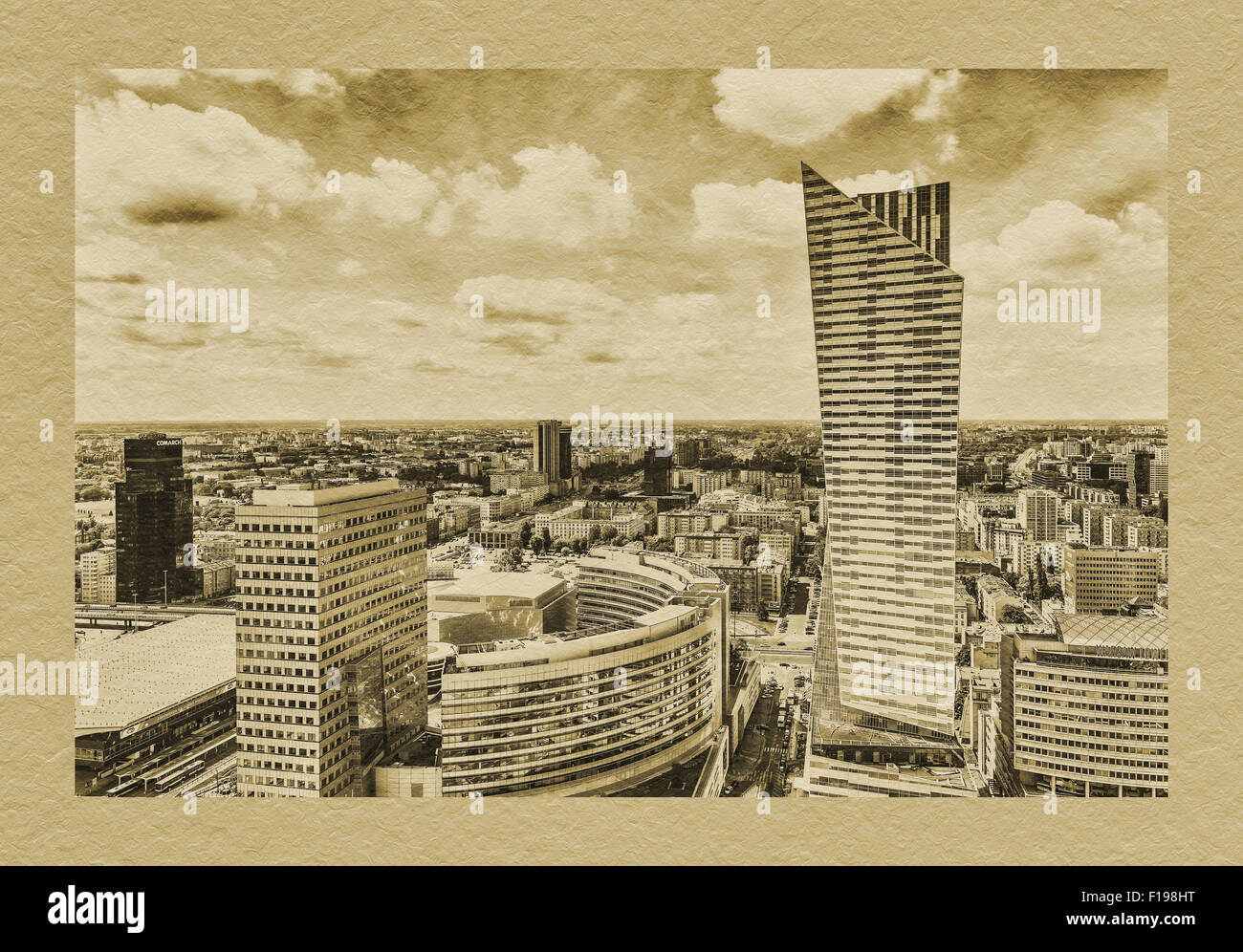 The Zlota 44 building is located on the right side. The architect was Daniel Libeskind, Warsaw, Masovian, Poland, Stock Photo