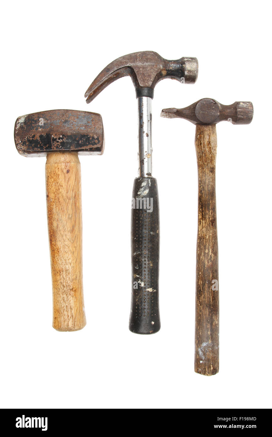 Three hammers, lump,claw and tack hammer isolated against white Stock Photo