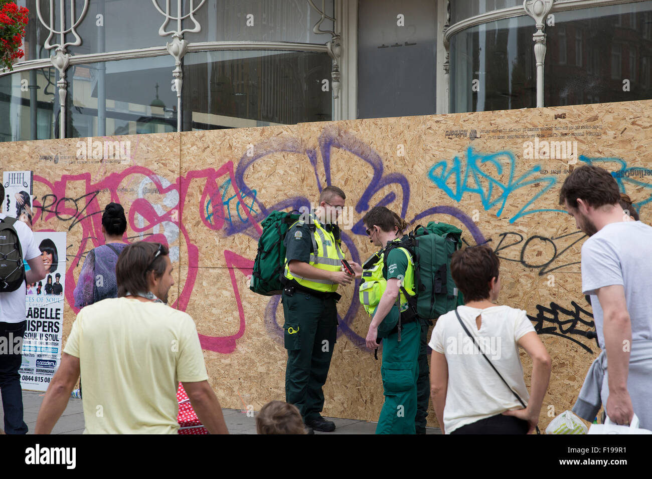 Notting Hill, UK. 30th August, 2015. London Ambulanec Service staff attend the Notting Hill carnival childrens parade. Stock Photo