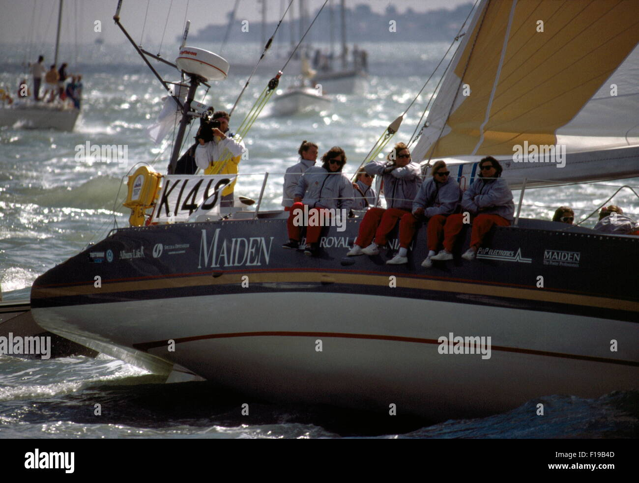 AJAXNETPHOTO. 1989. SOLENT, ENGLAND. - WHITBREAD RACE YACHT - MAIDEN (GBR) SKIPPERED BY TRACY EDWARDS IS A 58FT - Stock Image