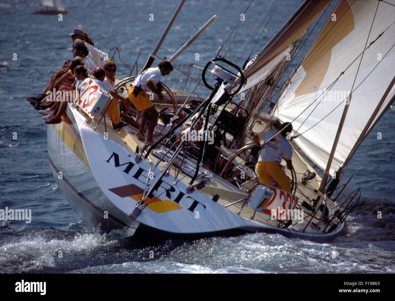 AJAXNETPHOTO. 1989. SOLENT, ENGLAND. FASTNET RACE 1989 - SWISS YACHT MERIT SKIPPERED BY PIERRE FEHLMANN. BRUCE FARR Stock Photo
