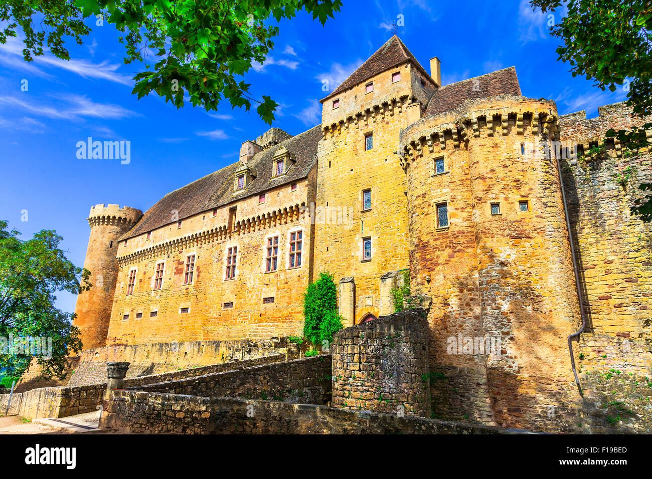 impressive medieval castle Castelnau in France (Prudhomat, Lot department) ,France. Stock Photo