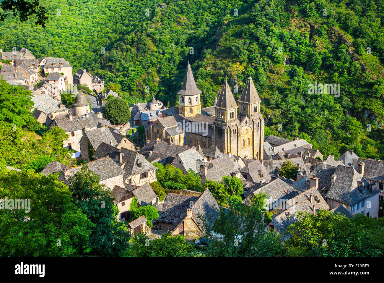 Abbey Sainte Foy, Conques, France. World heritage site - Stock Image