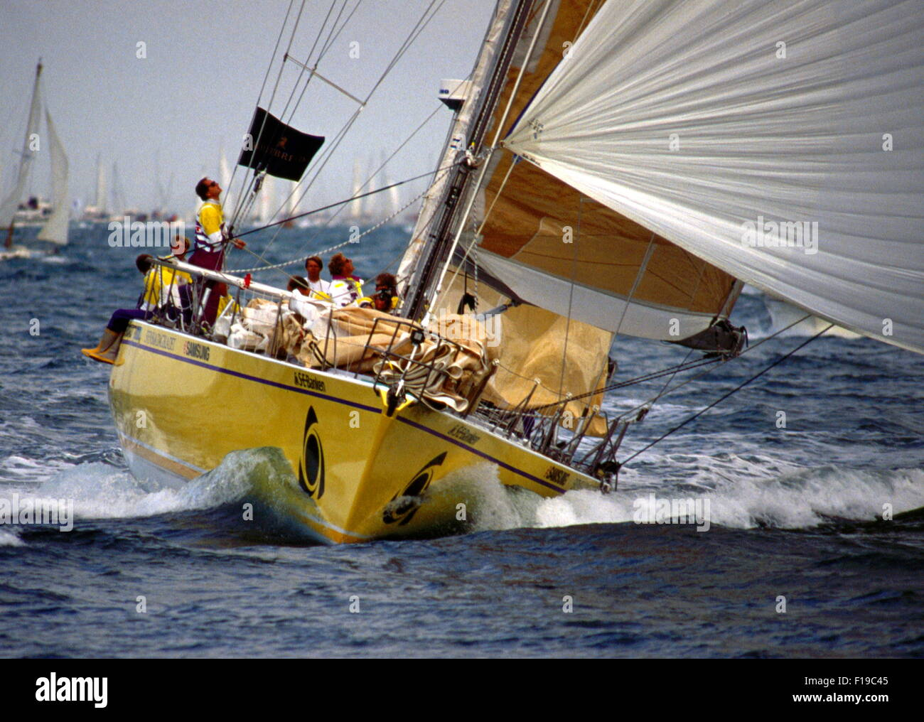 AJAXNETPHOTO. 1989. SOLENT, ENGLAND. - WHITBREAD RACE YACHT - THE CARD (SWEDEN) SKIPPERED BY ROGER NILSON IS A BRUCE - Stock Image