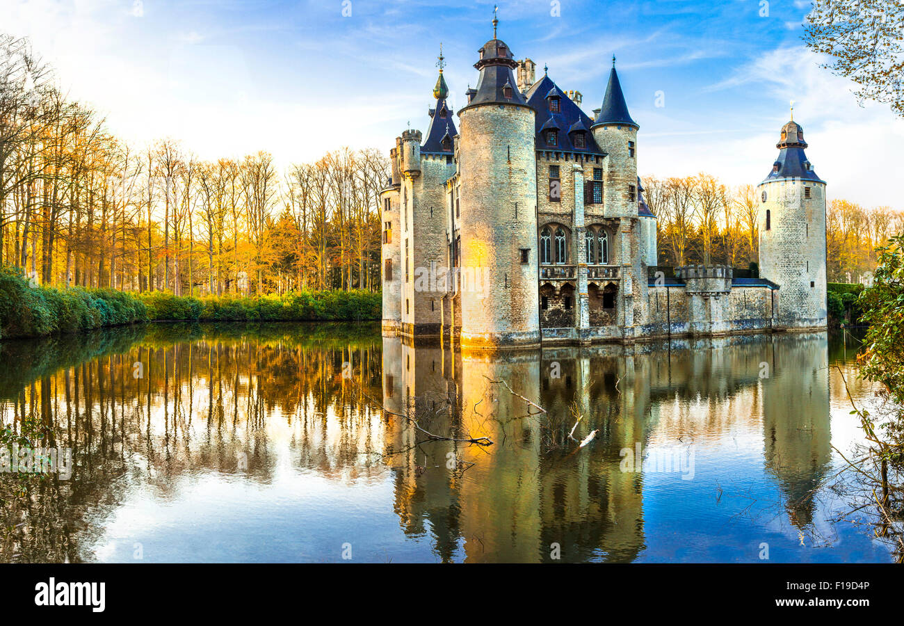 fairy tale Borrekens Castle in Belgium - Stock Image