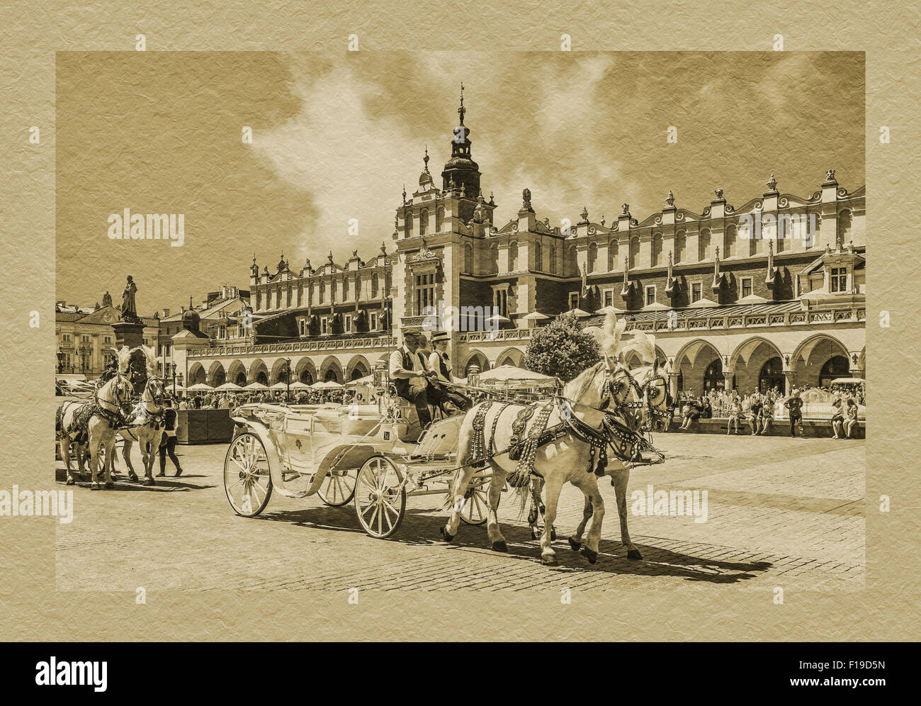 Horse-drawn carriages await tourists on the Krakow Main Market Square, Lesser Poland, Poland, Europe Stock Photo