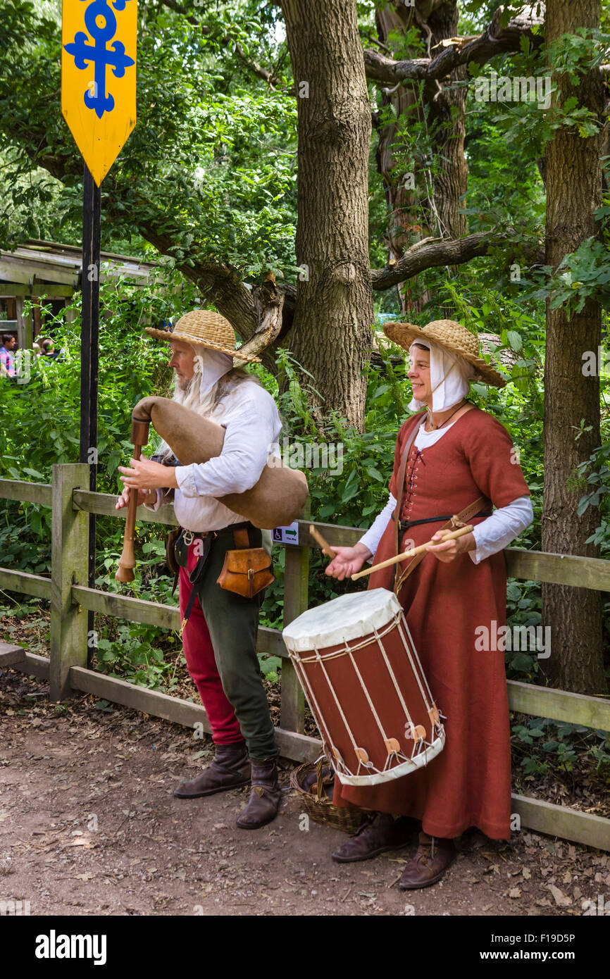Re-enactors in period costume at the Robin Hood Festival in August 2015,  Sherwood Forest Country Park, Nottinghamshire, - Stock Image