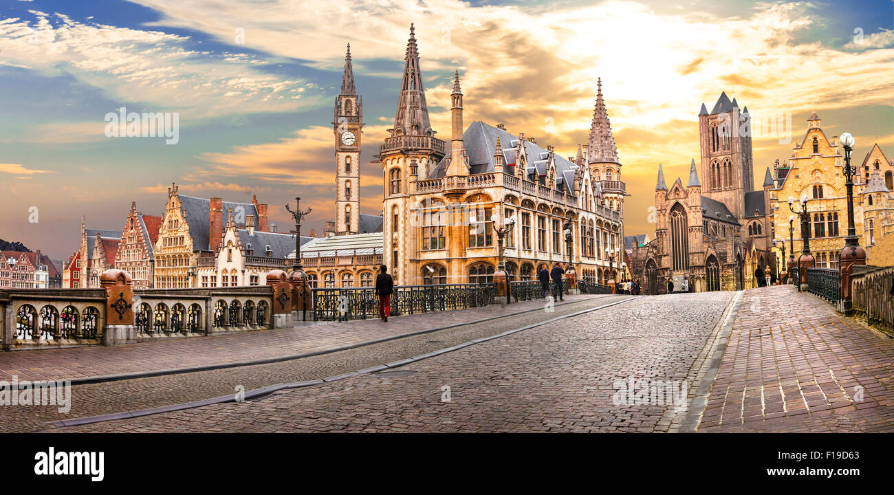 medieval Ghent over sunset , Belgium - Stock Image