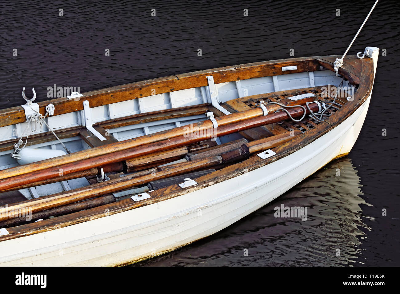 White rowing boat closeup - Stock Image
