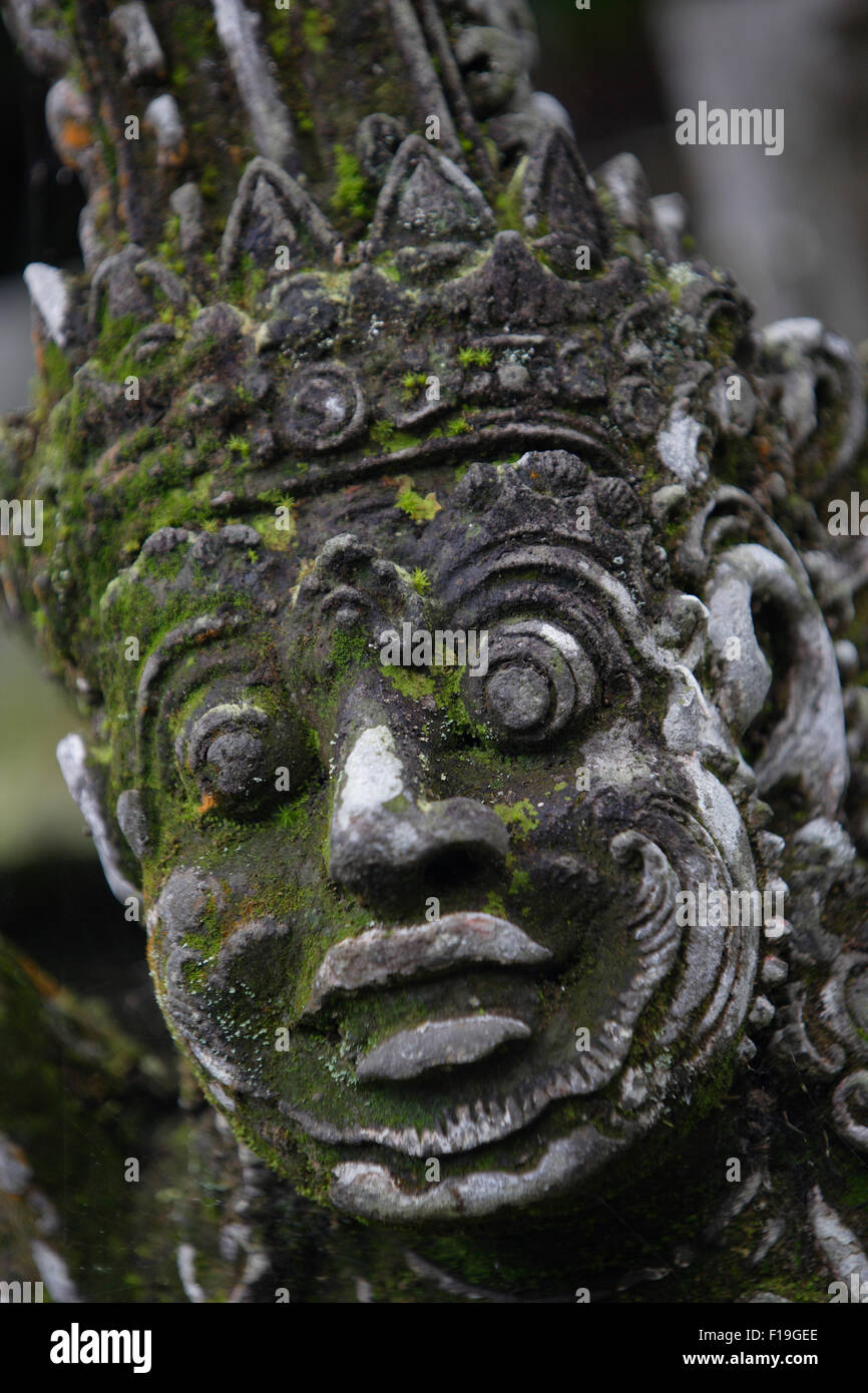 px0081-D. moss covered statue at Pura Luhur Batukau. Bali, Indonesia. Photo Copyright © Brandon Cole. All rights - Stock Image