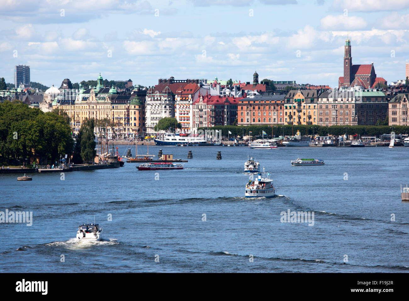 Stockholm the capital of Sweden and most populous city in the Nordic region harbour of Skeppsbron - Stock Image
