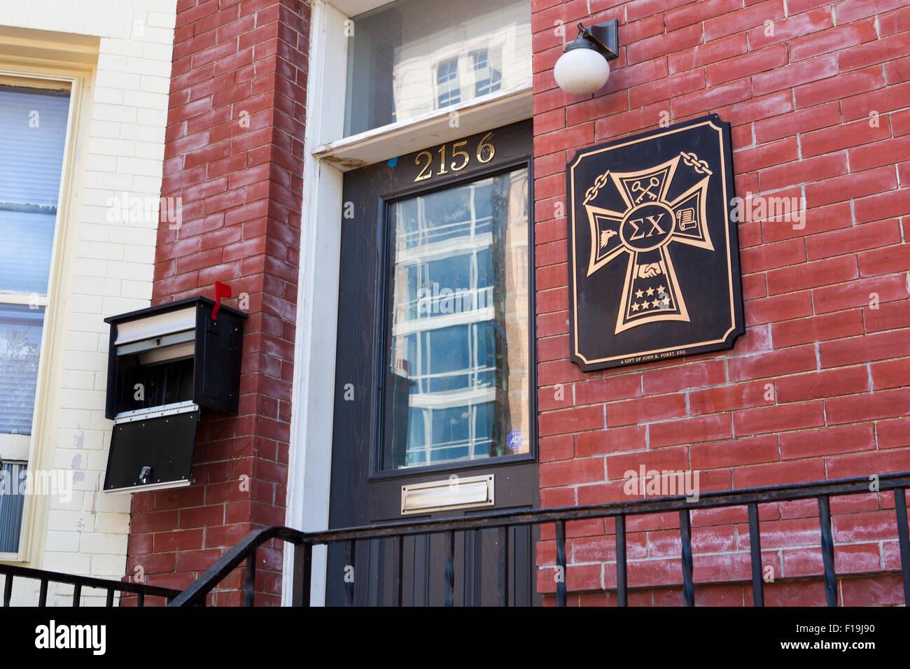 Epsilon Chapter of Sigma Chi, George Washington University - Washington, DC USA Stock Photo