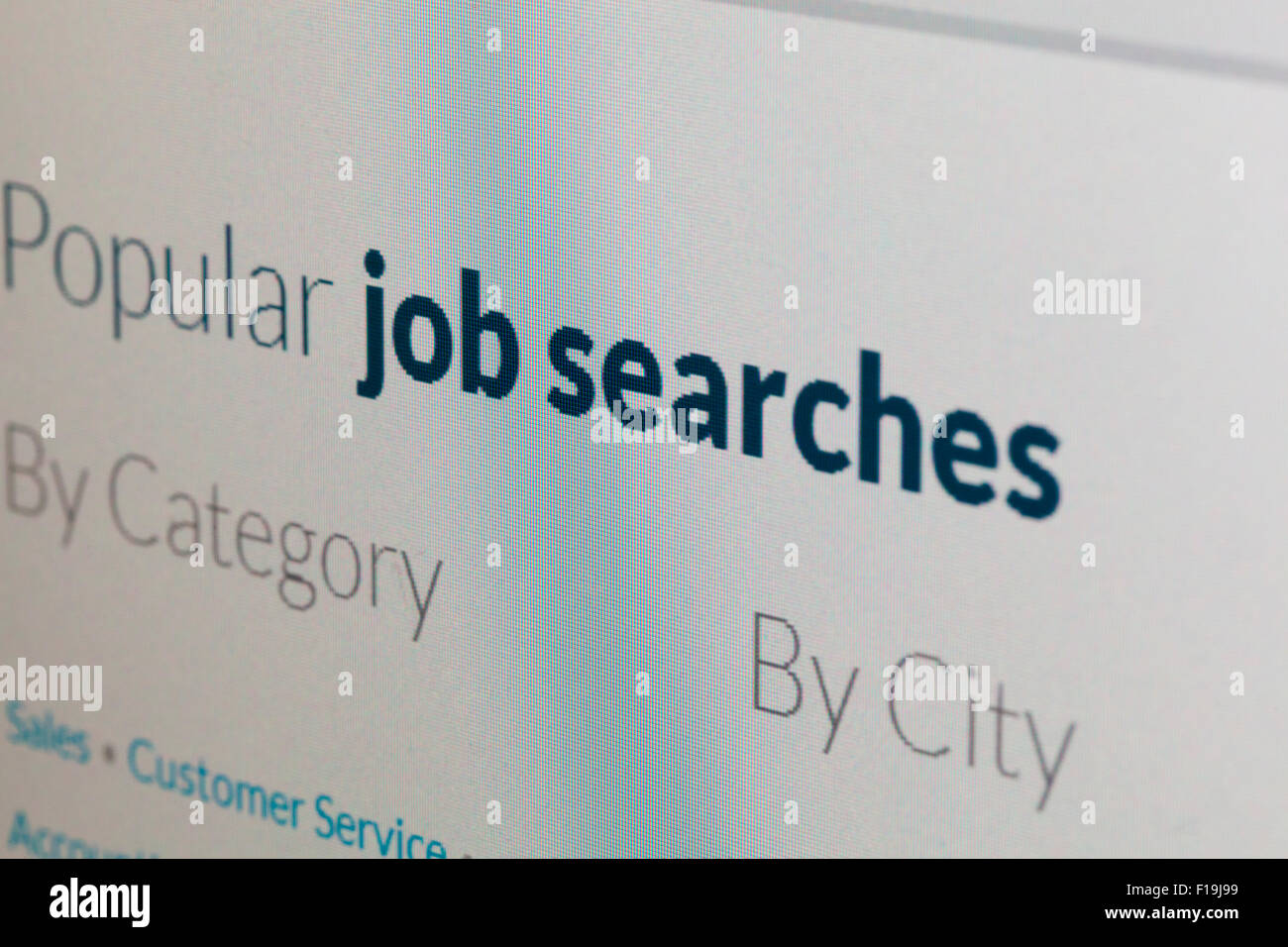 Job search portal website on screen - Stock Image