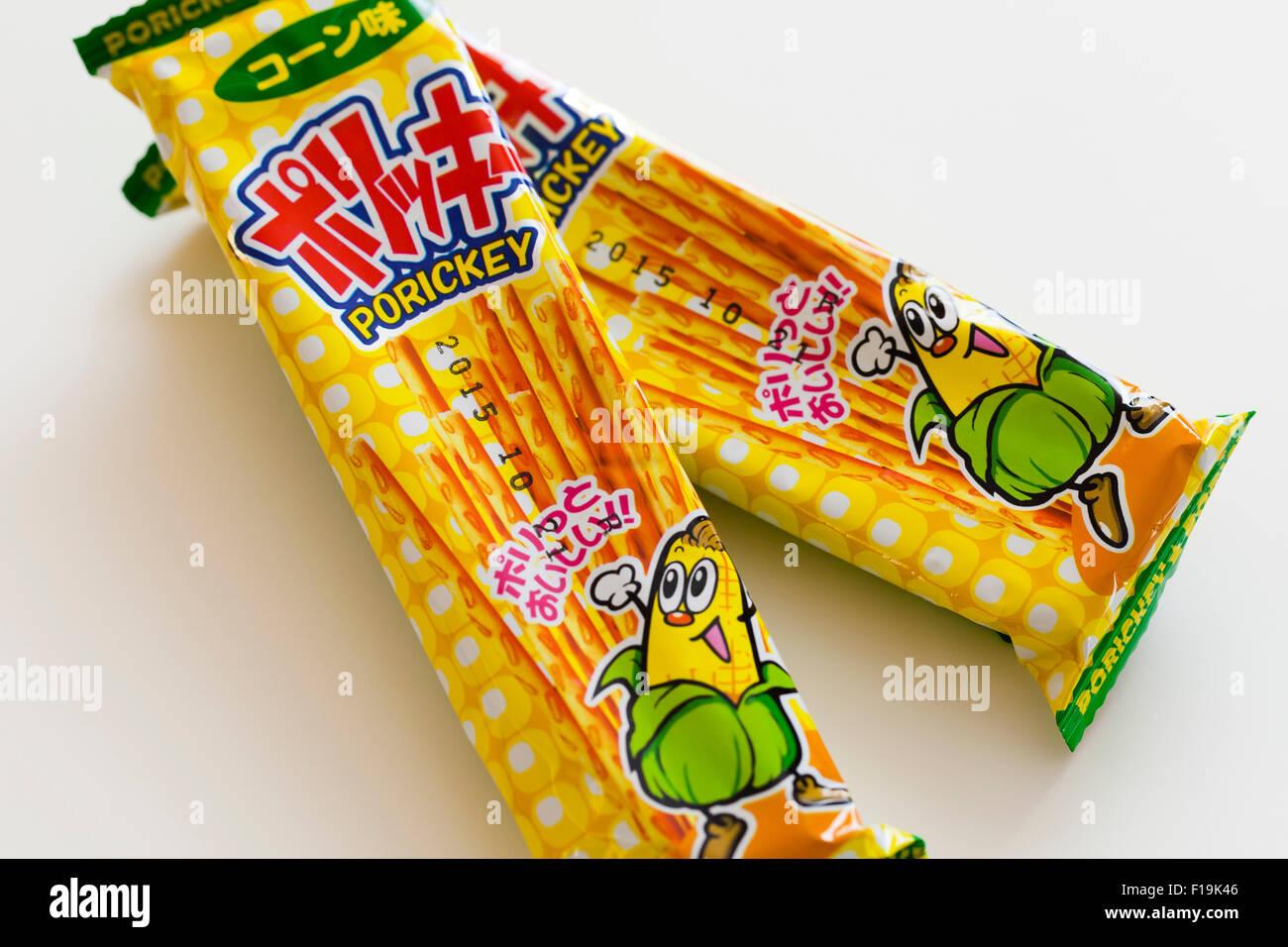 Porickey corn flavored pretzel sticks in Japanese packaging - Stock Image