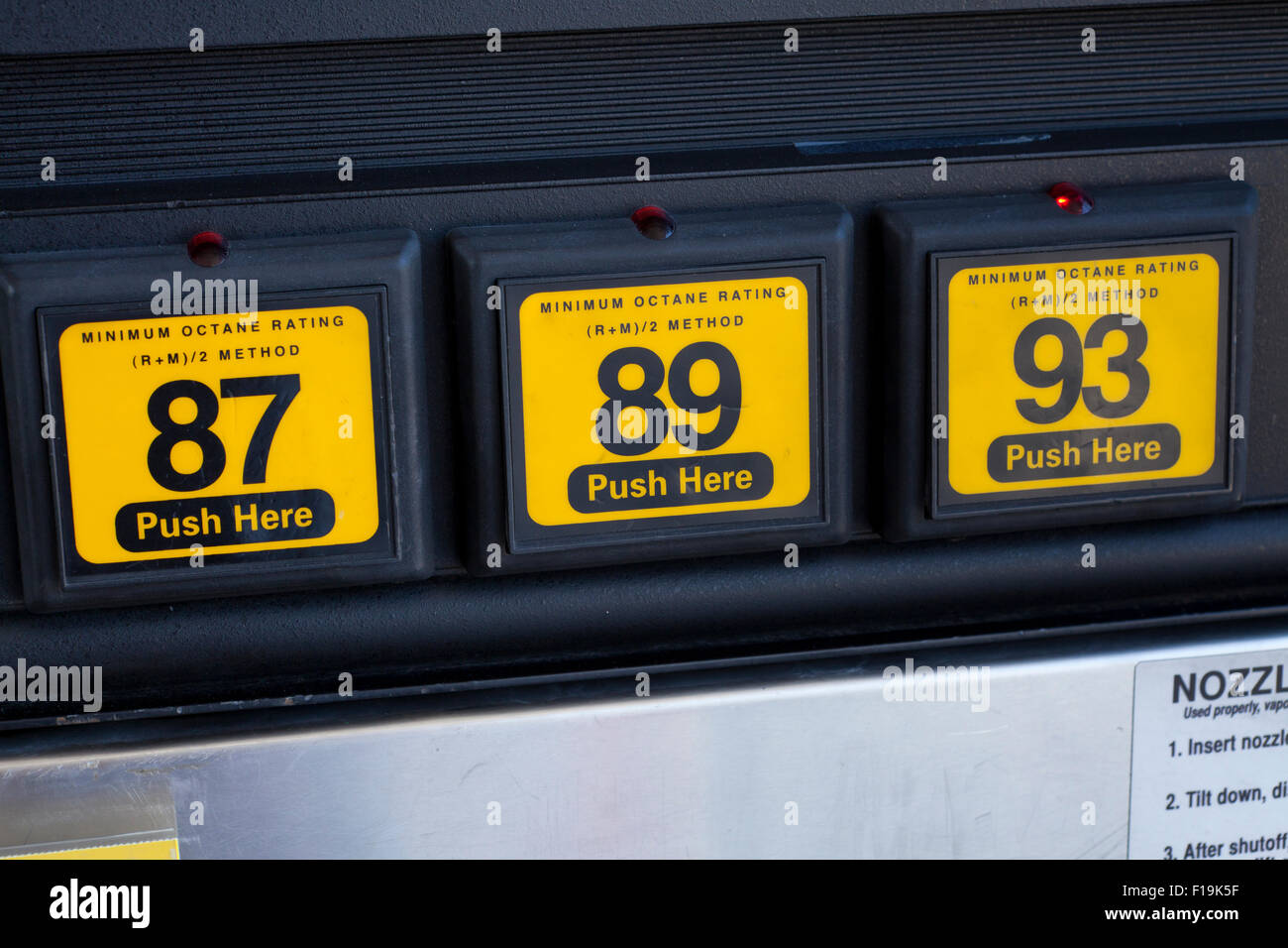 Octane choice buttons on gasoline fill pump - USA - Stock Image