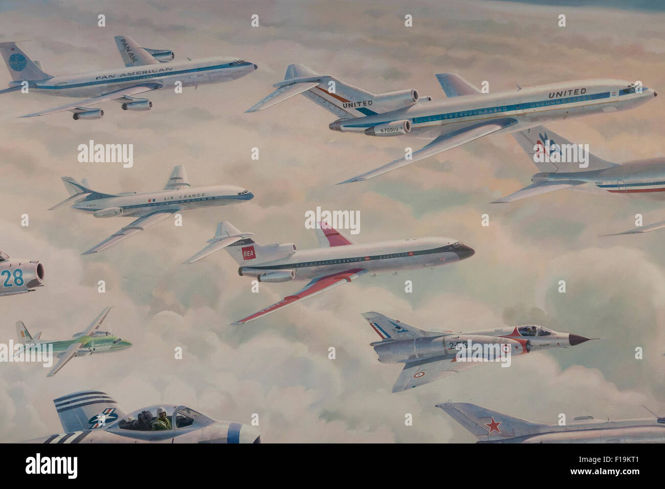 Various types of jet airplanes illustration - Stock Image