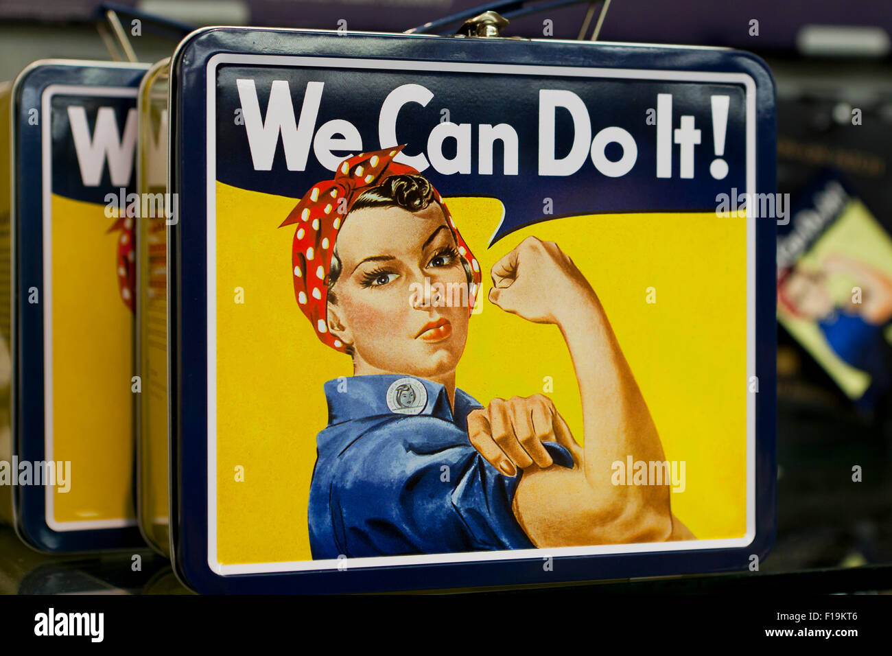 We Can Do It!, American wartime propaganda poster lunch box - USA - Stock Image