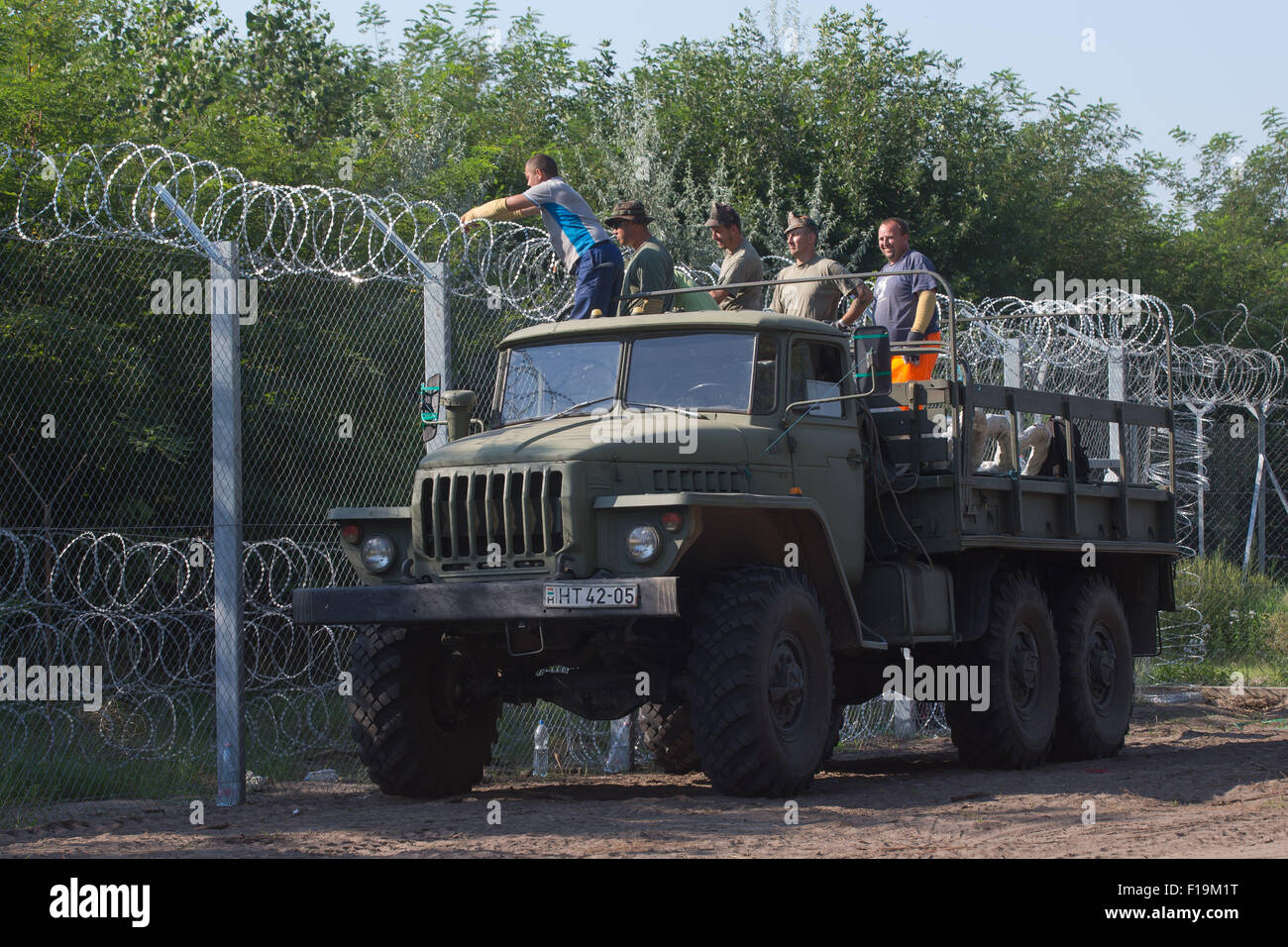 Asotthalom, Hungary. 31st August, 2015. Hungarian soldiers and Stock ...