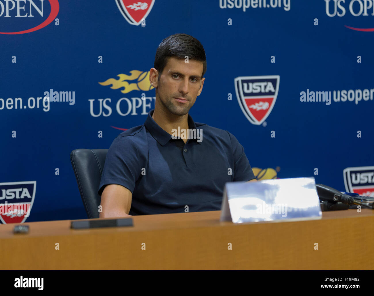 New York, NY - August 29, 2015: Novak Djokovic of Serbia attends press conference at US Open Championship in Arthur - Stock Image