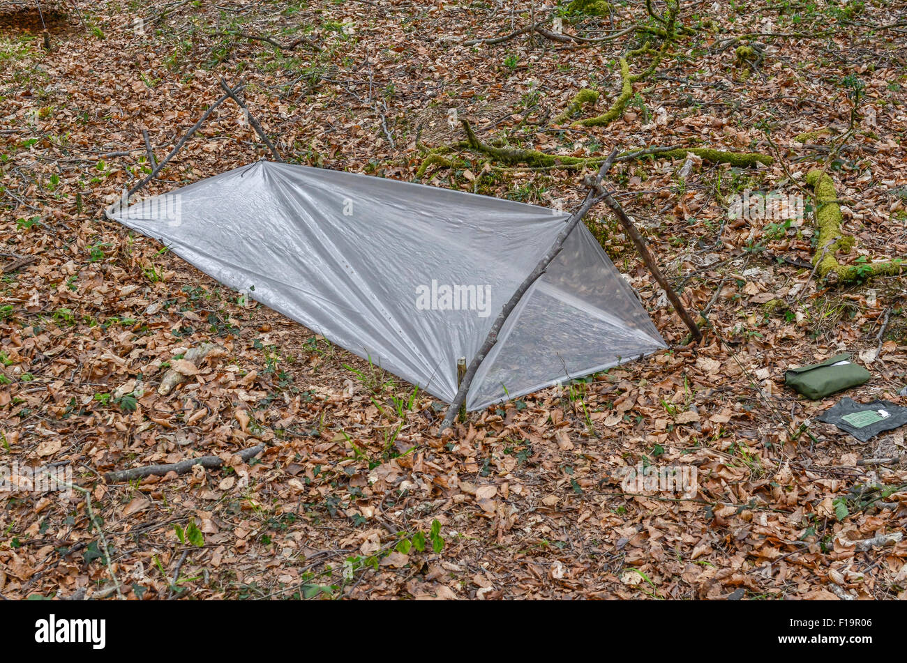 Survival Concept Emergency Survival Shelter Constructed From A