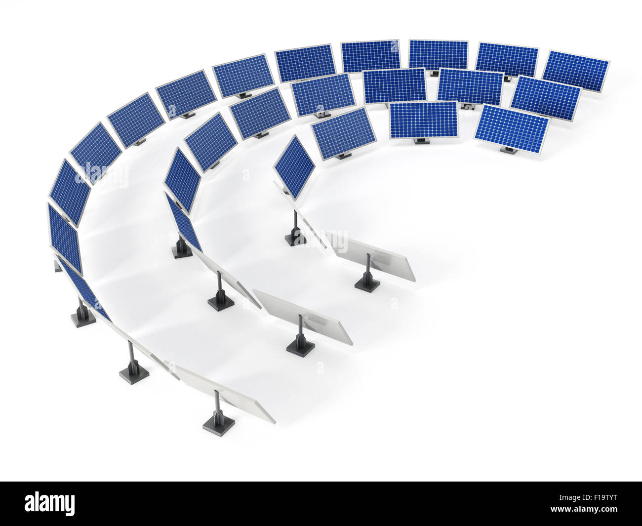 Solar panels arranged in circular formation. - Stock Image