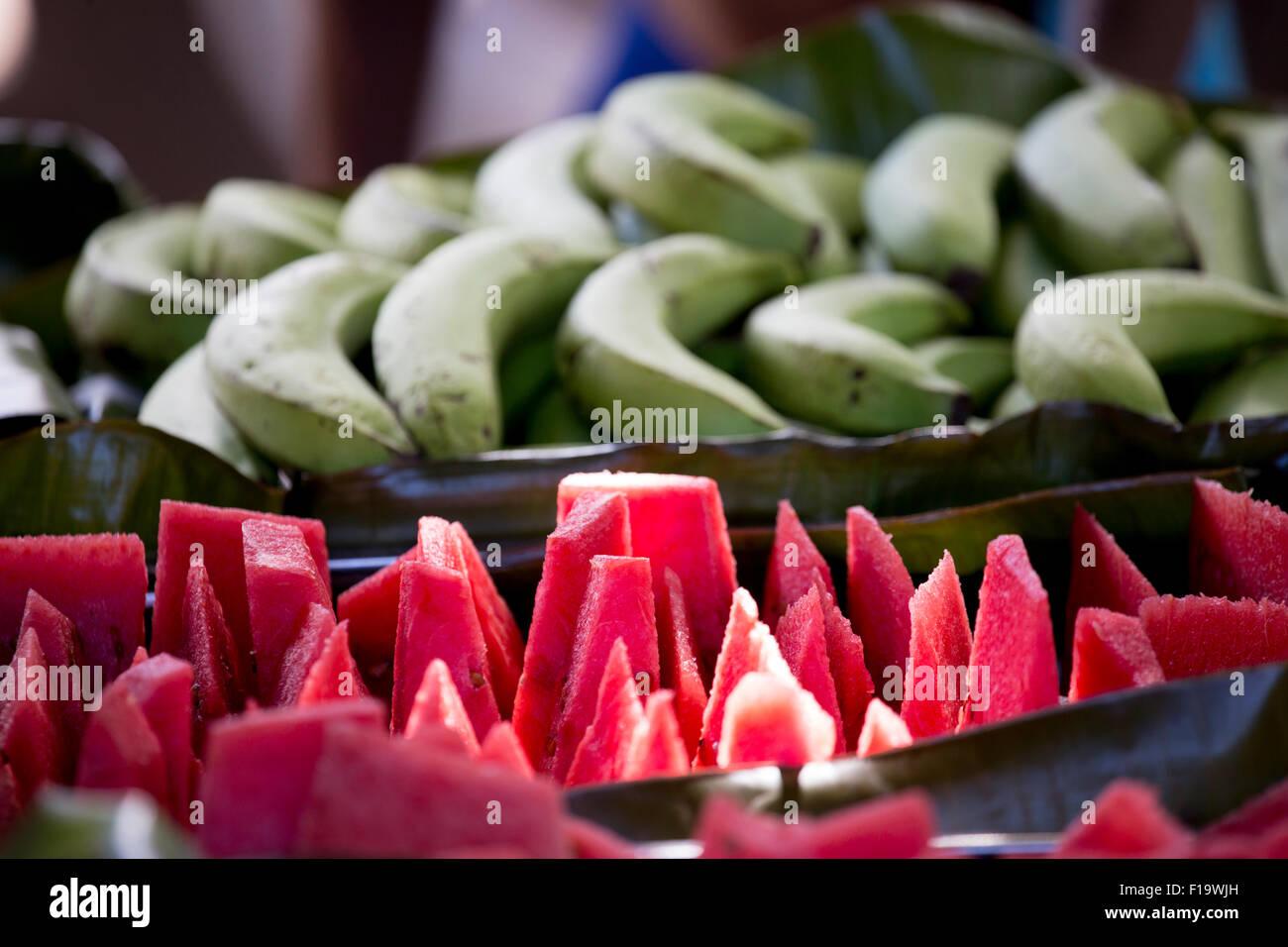 Honiara, Solomon Islands, Kakabona Village, close up of tropical fruit. - Stock Image