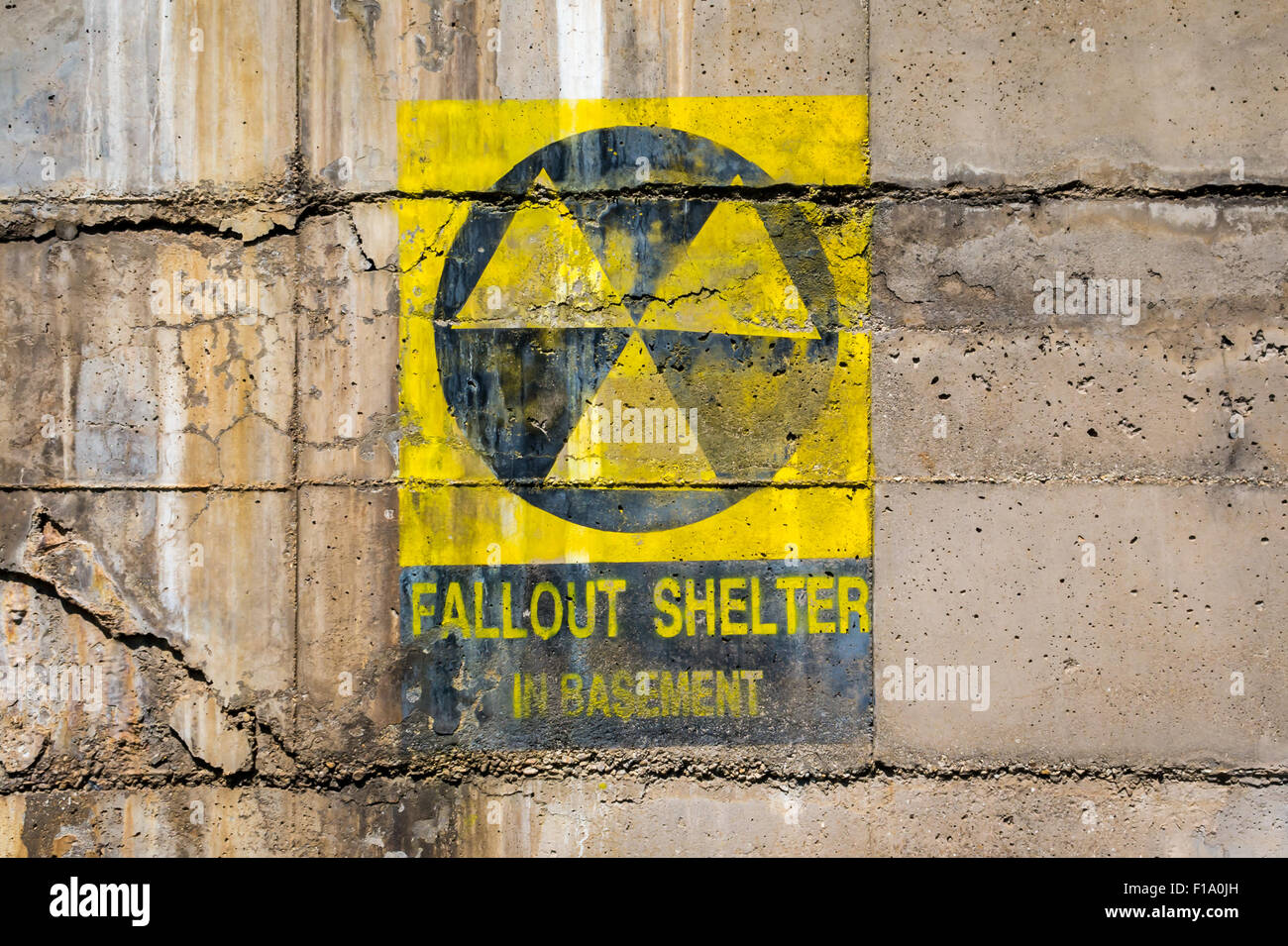 Fallout shelter sign at bunker entrance Stock Photo