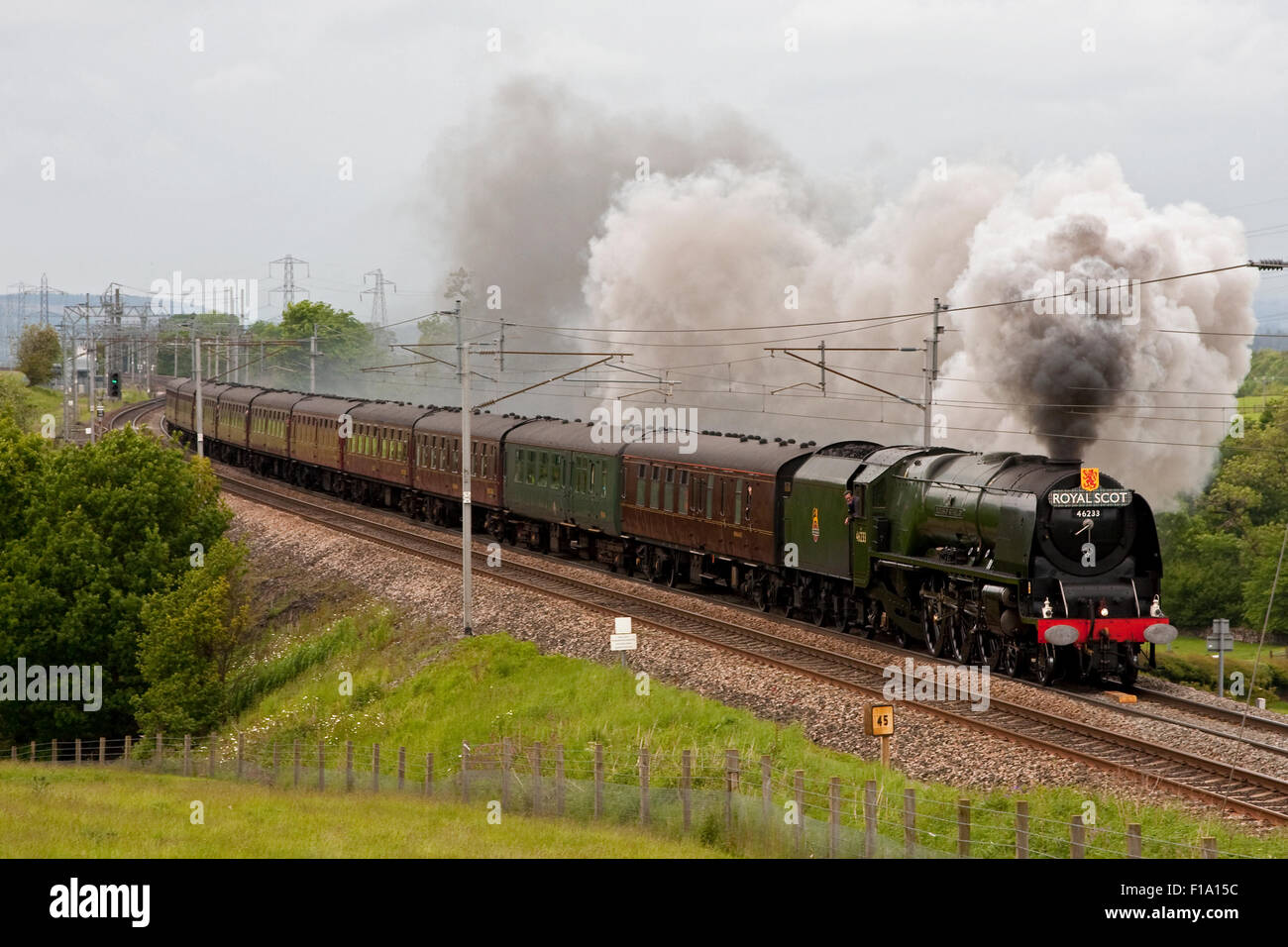 Preserved steam locomotive Duchess of Sutherland heads the Royal Scot southbound through Hackthorpe, Cumbria in - Stock Image