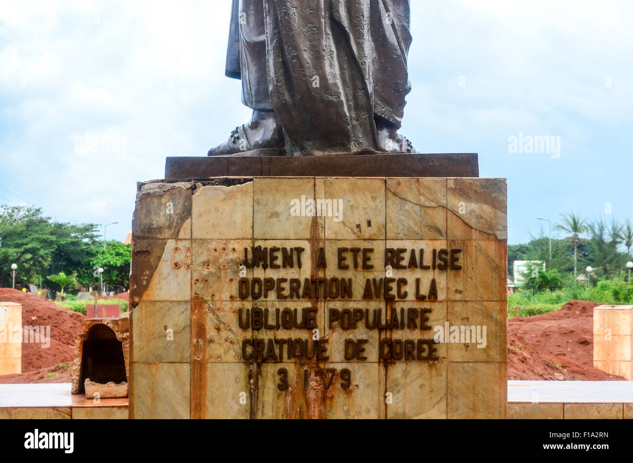 Statue from North Korea in Abomey, Benin, Africa - Stock Image