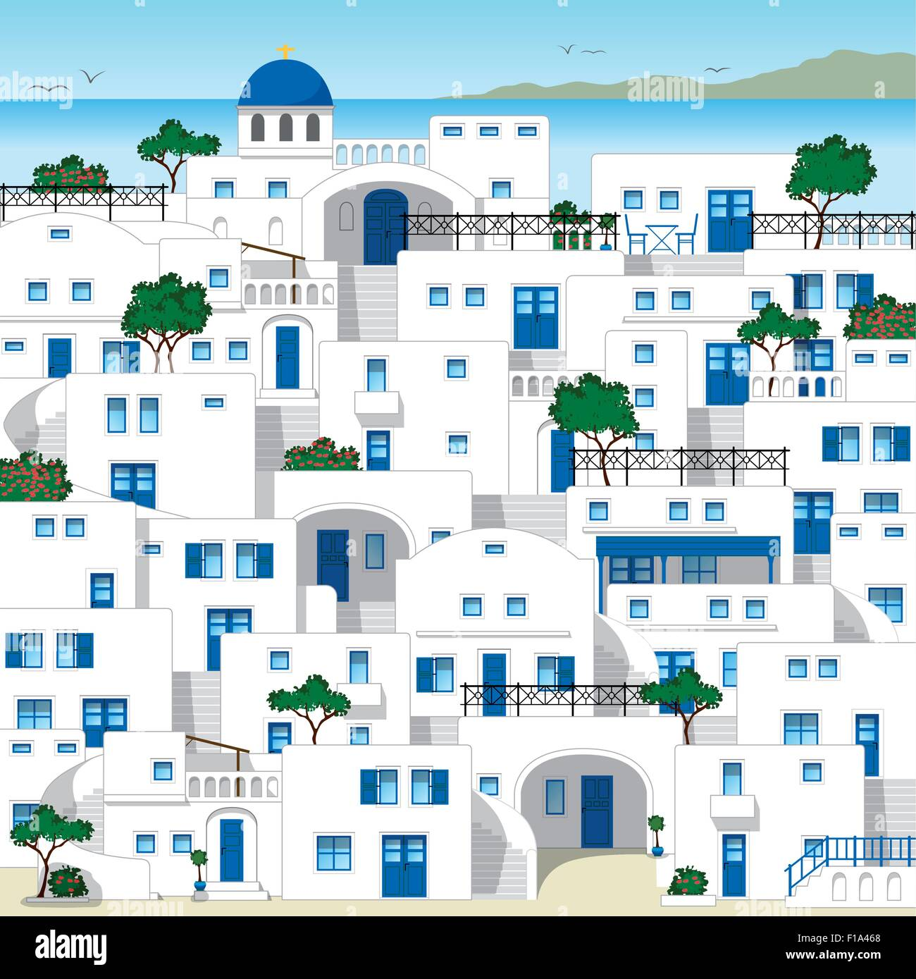 Traditional greek houses - Stock Vector