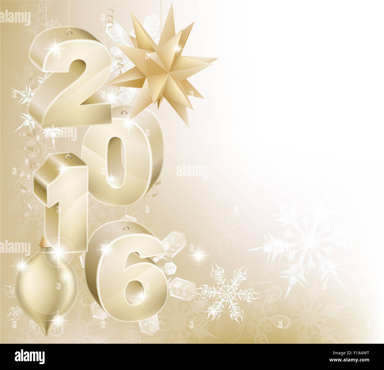 Gold 2016 and bauble decorations abstract snowflakes Christmas or New Year design background. - Stock Image