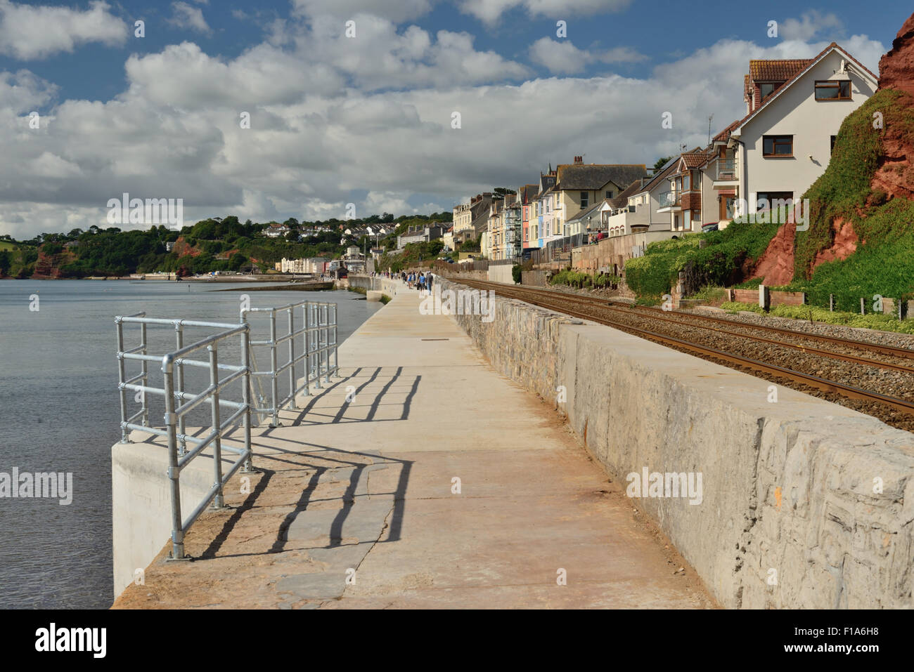 Rebuilt sea wall, following severe storm damage in 2014. - Stock Image