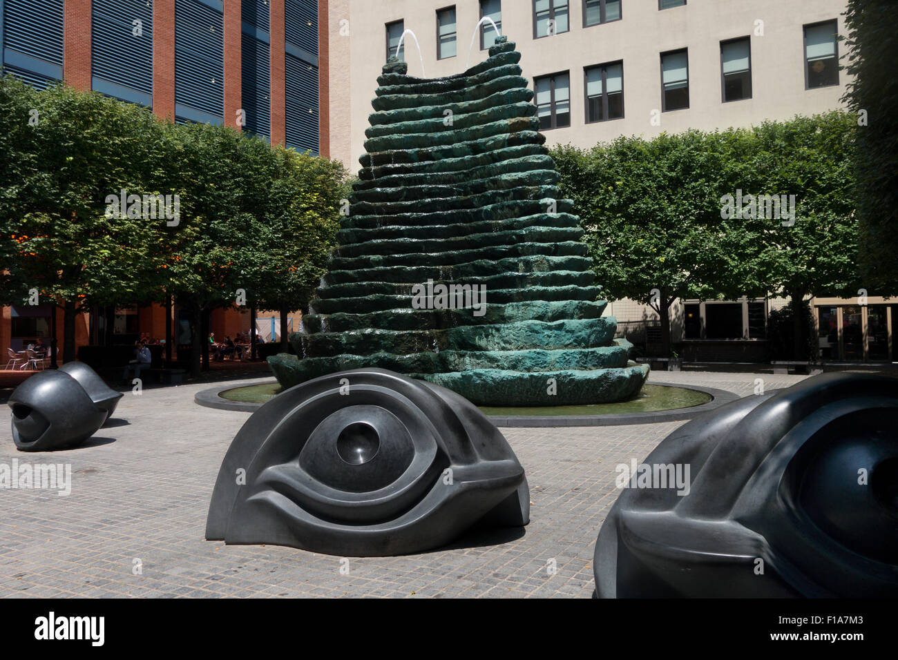 Eyeball benches are a recognizable feature of Agnes R. Katz plaza, otherwise known as 'eyeball park' in - Stock Image