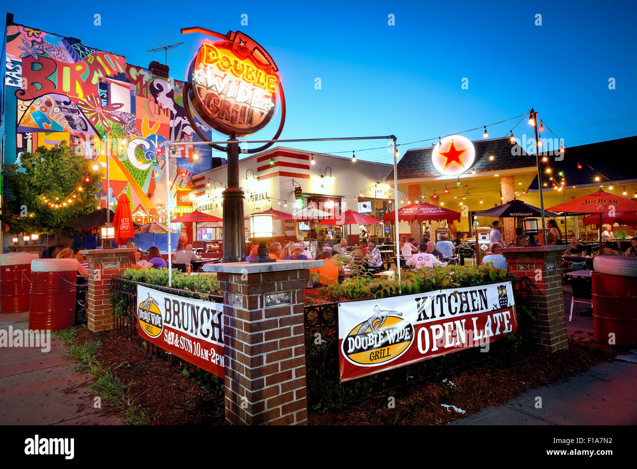 A nighttime shot of the Double Wide Grill in Pittsburgh's South Side neighborhood - Stock Image