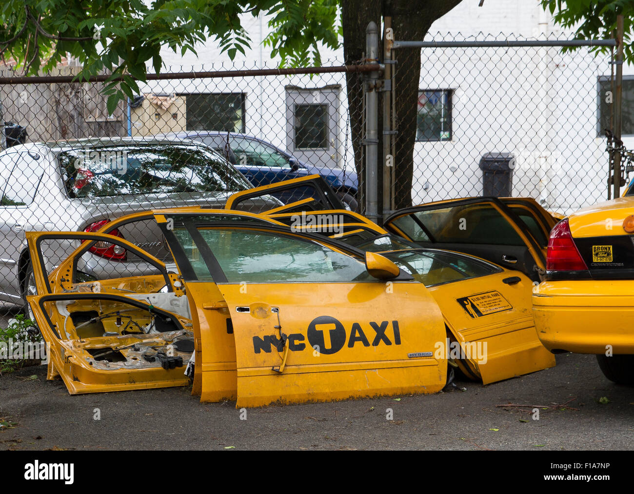 Scrapped New York Taxi Cabs in Long Island City NY - Stock Image