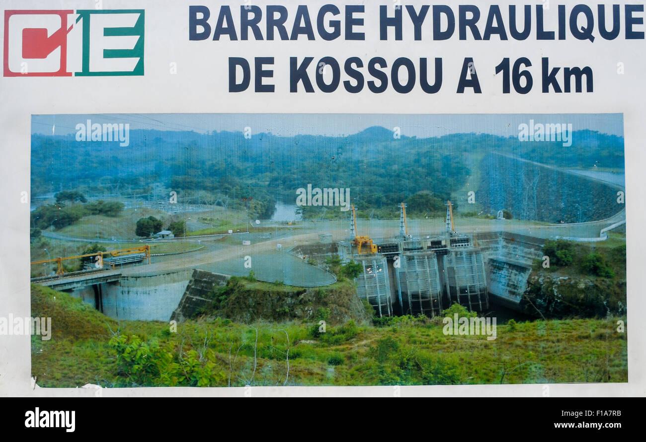 Barrage de Kossou - Kossou dam and hydro power station, sign board, in Ivory Coast - Stock Image