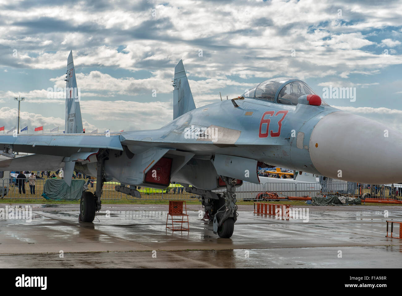 Sukhoi SU-27UBM Flanker at MAKS 2015 Air Show in Moscow, Russia - Stock Image