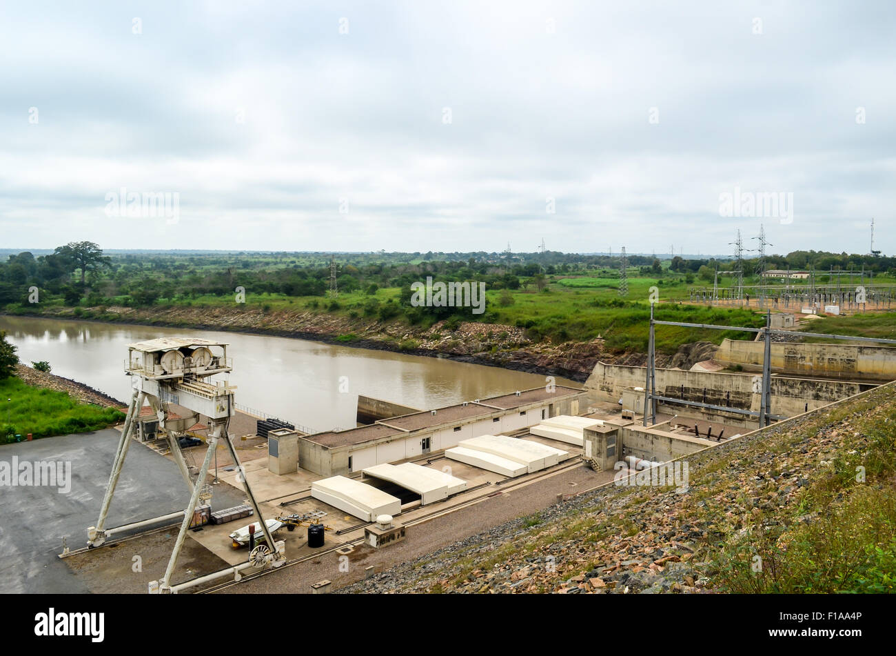 Nangbeto hydropowerplant in Togo Stock Photo