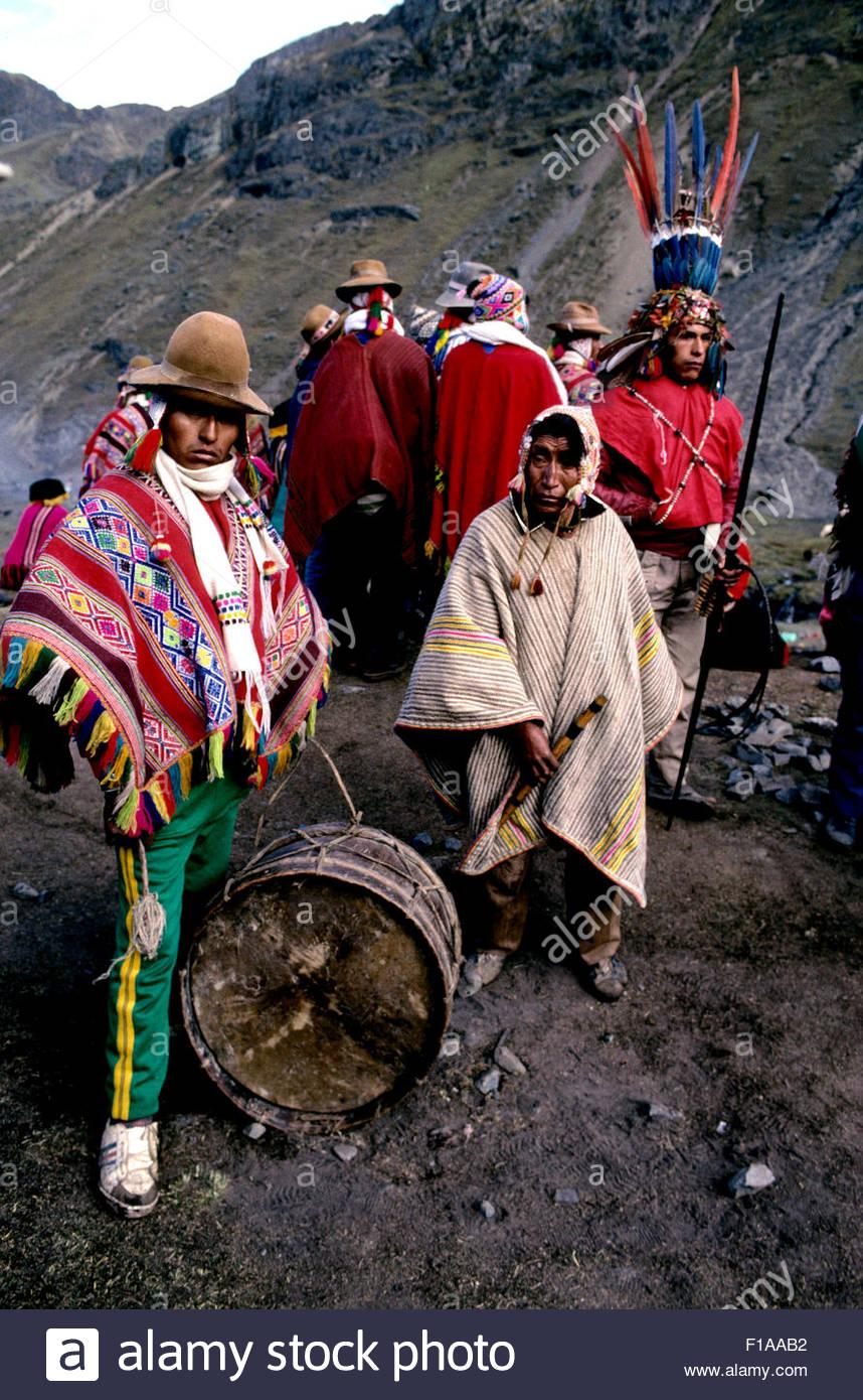 Peru, Cusco, Sinakara, Qoyllor Riti pilgrimage - Stock Image
