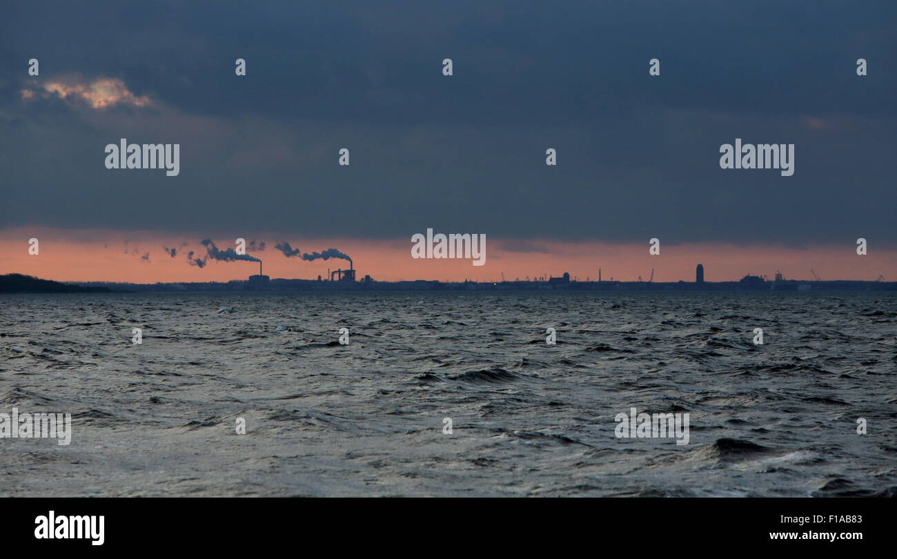 Wismar, Germany, view at dusk from the water to the city - Stock Image