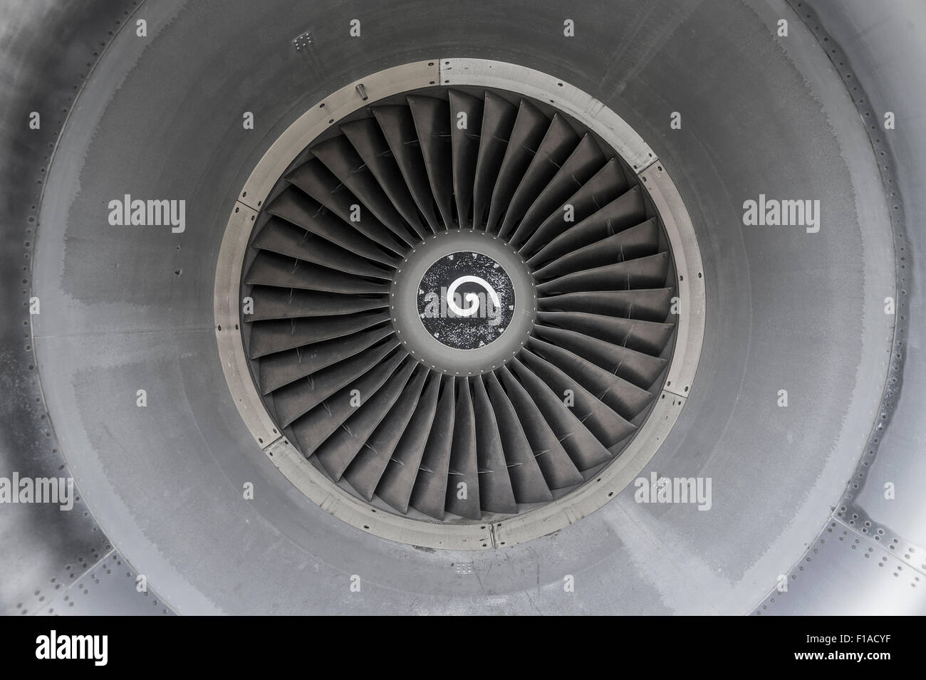 Inside Airplane Jet Engine - Stock Image