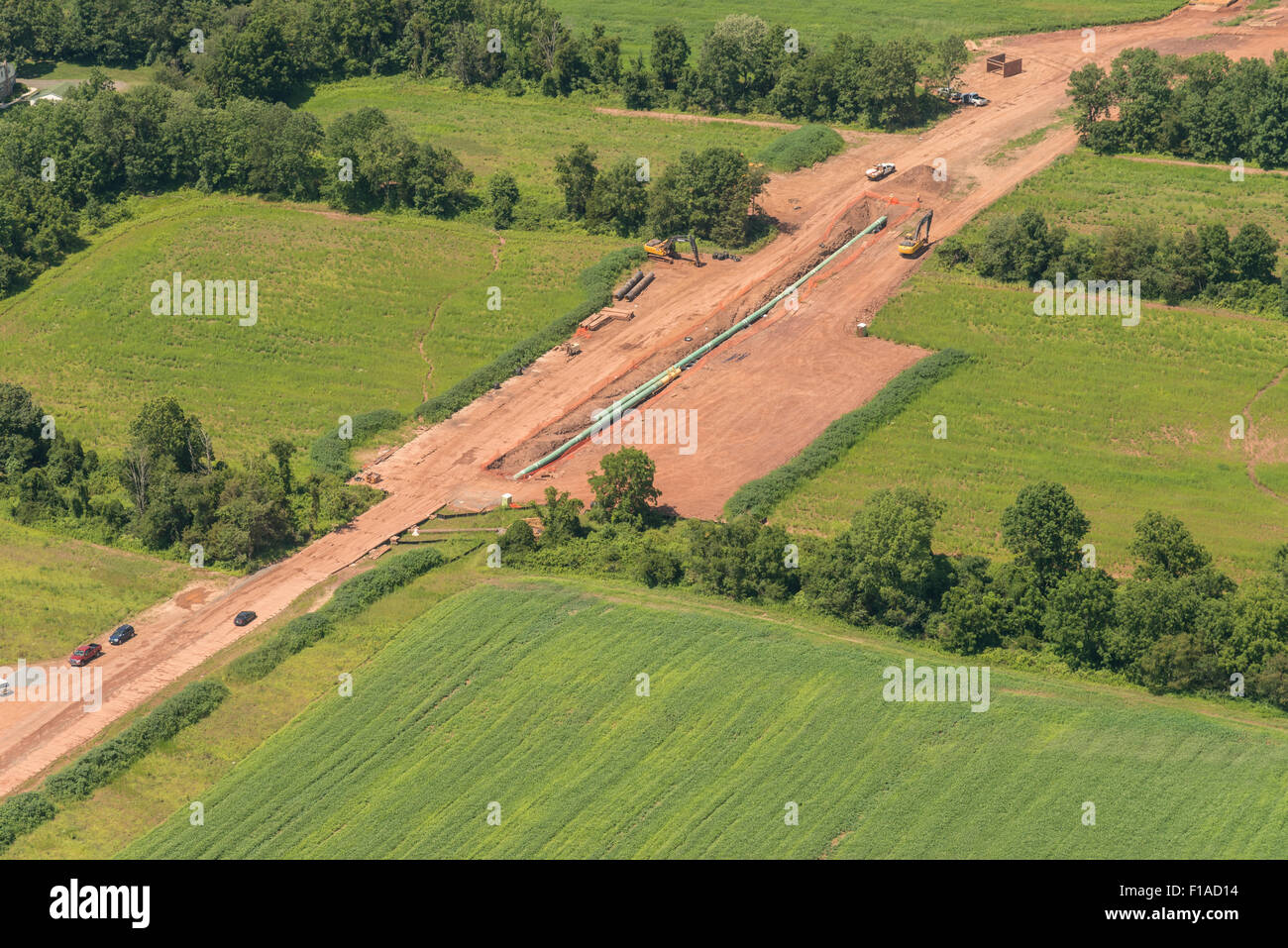 Aerial View Of Pipeline Being Installed - Stock Image