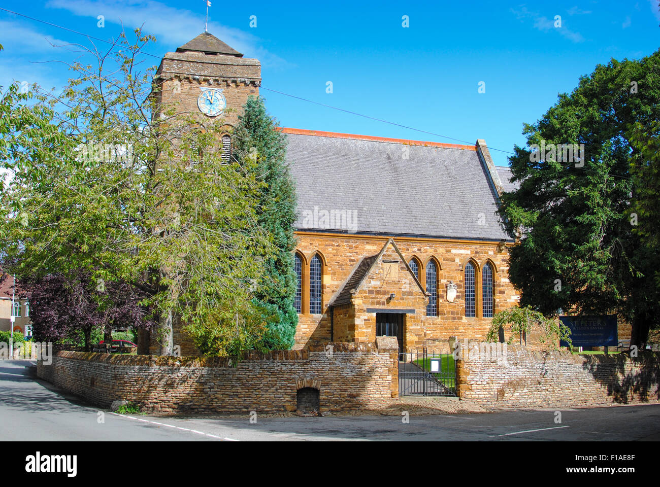 St Peters Church Weston favell village Northants - Stock Image