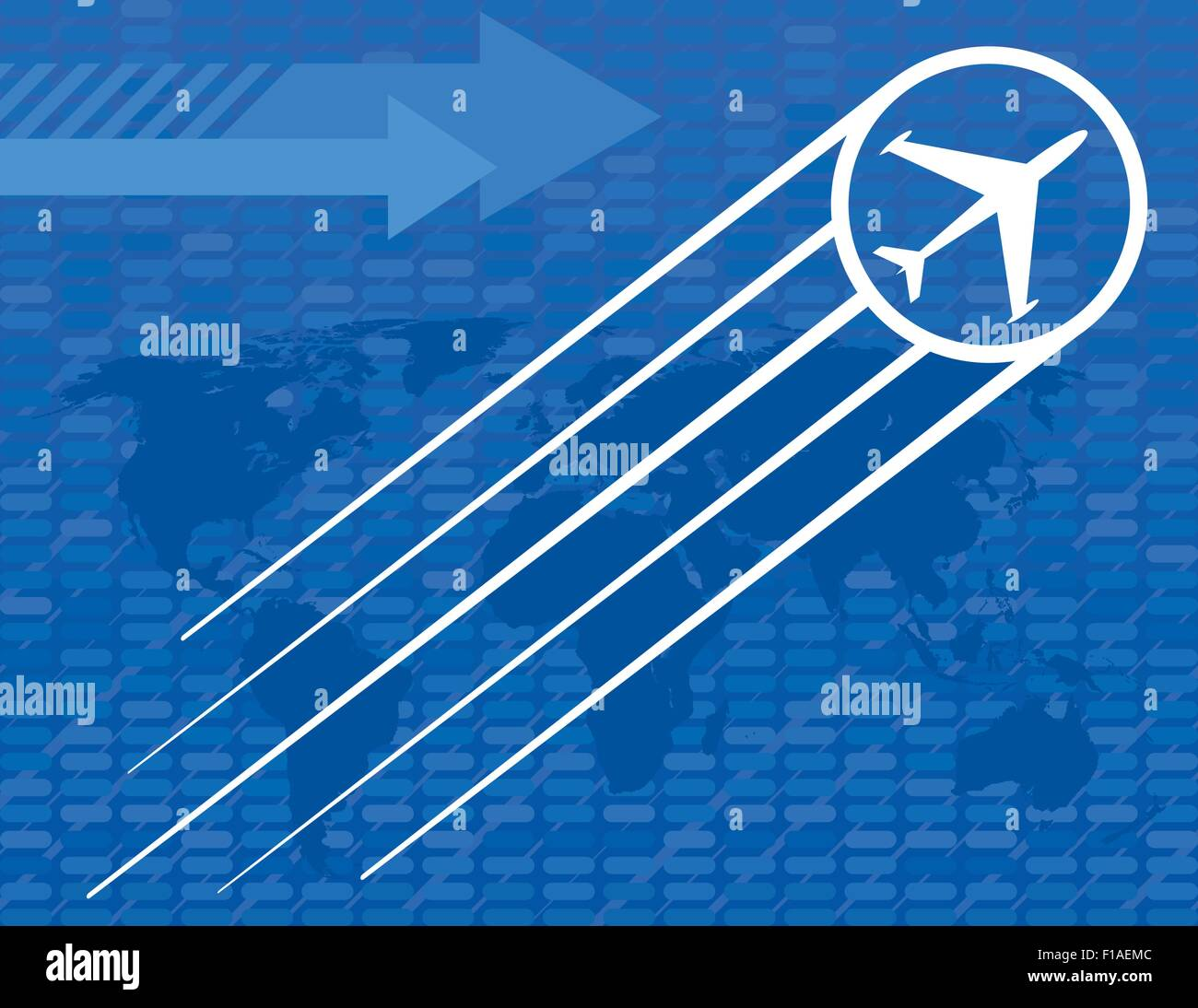 Blue Airplane Travel Background with arrows and a world map - Stock Image
