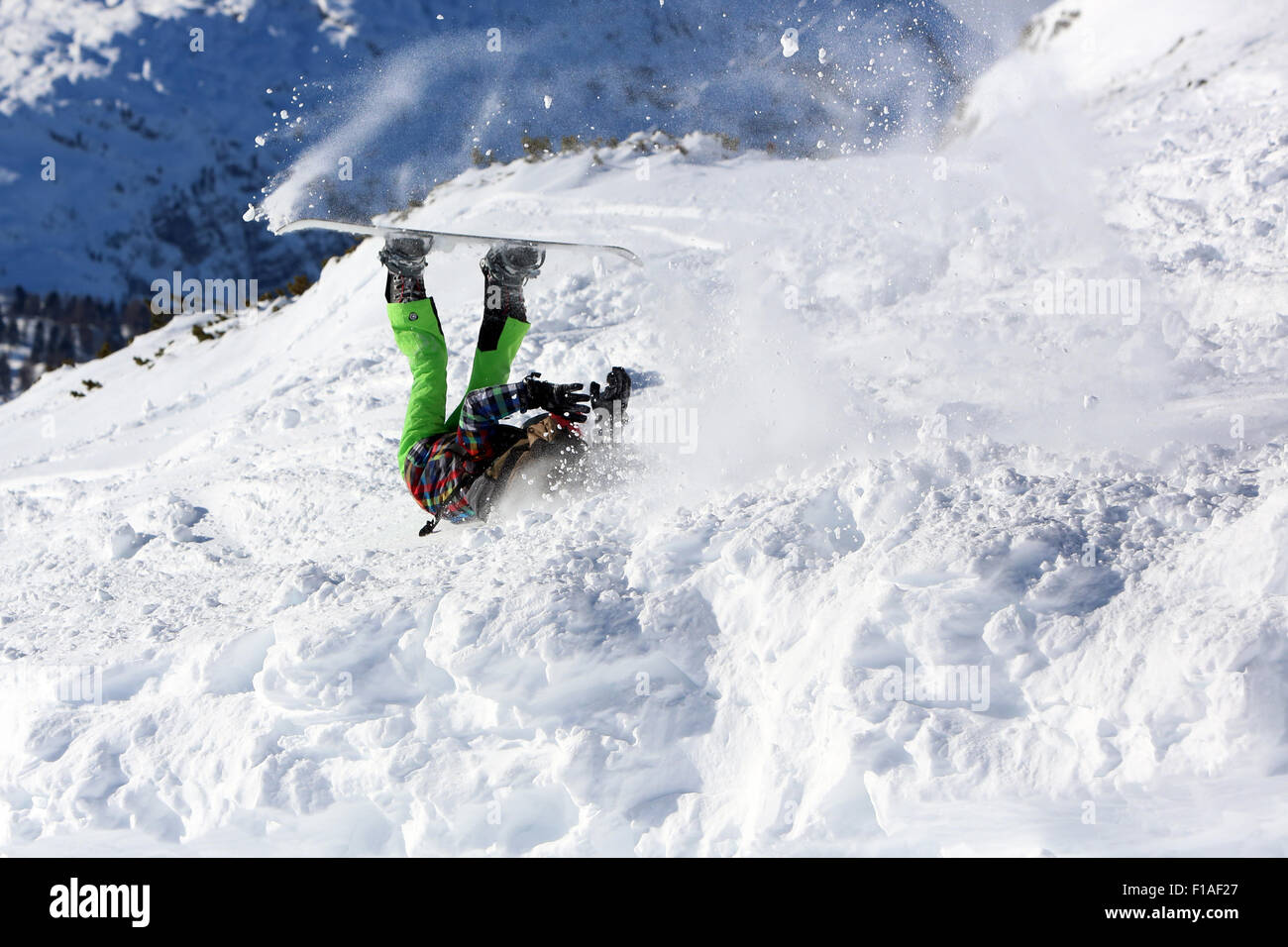 Krippenbrunn, Austria, a boy crashes while snowboarding Stock Photo