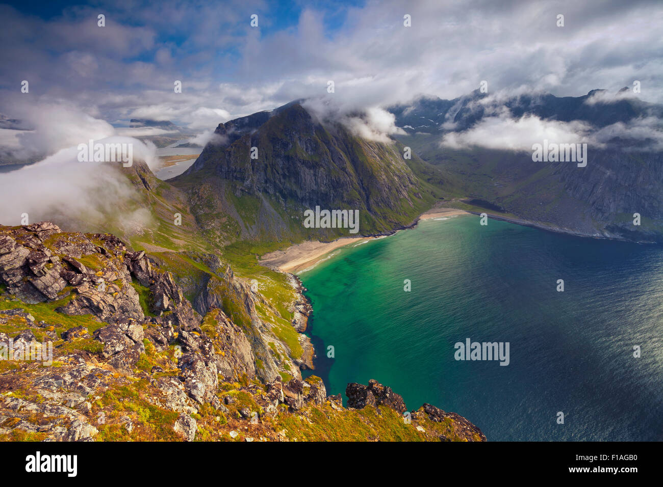 Image of Kvalvika Beach taken from Mt. Ryten, located at Lofoten Islands. - Stock Image