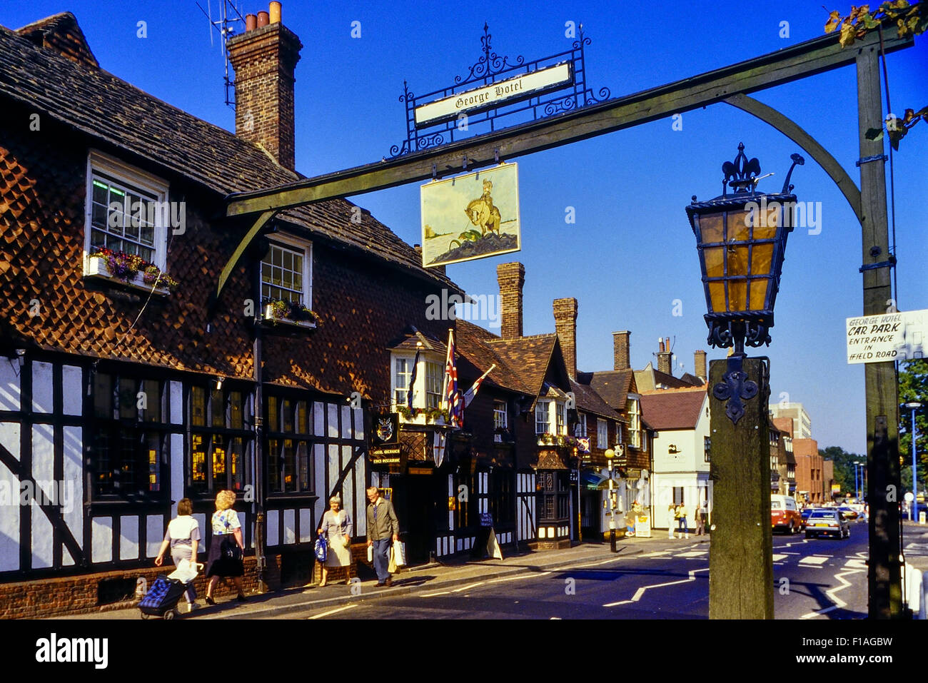 The George Hotel.  High Street. Crawley. West Sussex. England. UK. Circa 1980's - Stock Image
