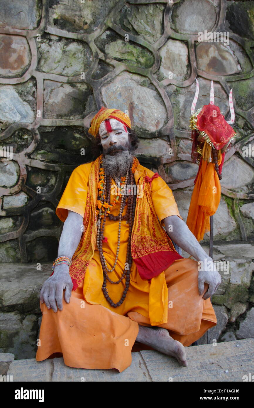 Sadhu portrait at Swayambhunath, the Monkey Temple, - Stock Image